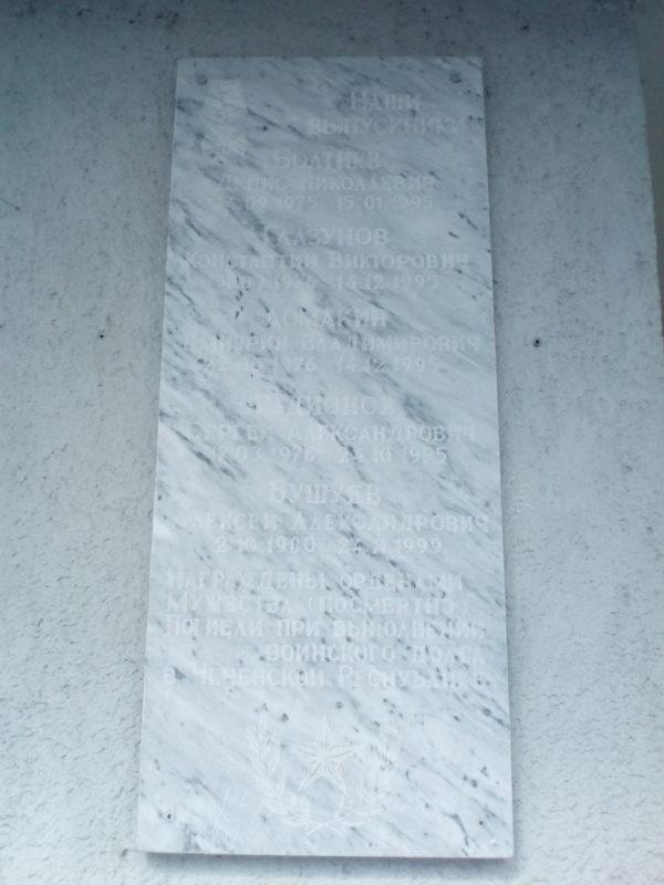 Мемориальная доска выпускникам технологического колледжа Мемориальные доски Кургана