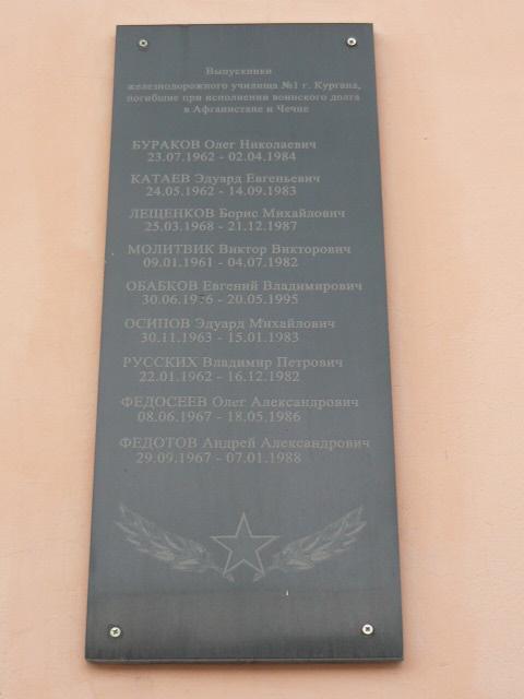 Мемориальная доска выпускникам железнодорожного училища № 1, погибших при исполнении воинского долга в Республике Афганистан и Чечне Мемориальные доски Кургана